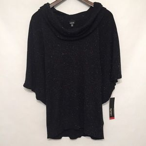 NWT Rafaella Black Sparkly Cowlneck Sweater XL